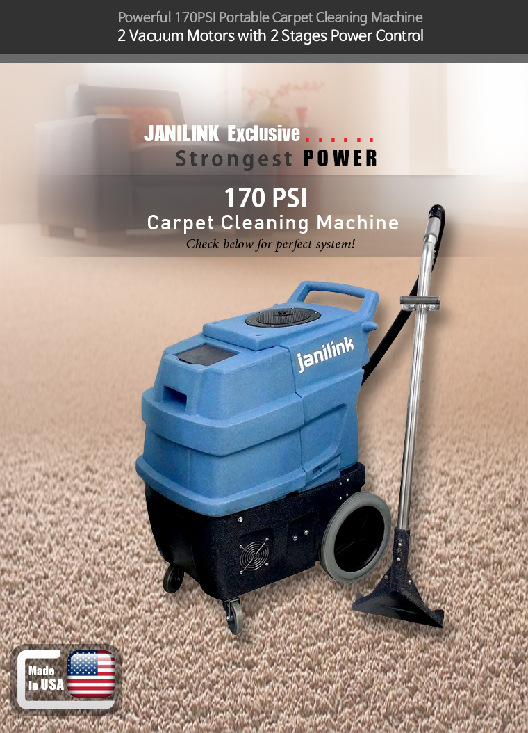 Powerful 170PSI Portable Carpet Cleaning Machine. 3 Vacuum Motors with 2 Stages Power Control. JANILINK Exclusive. Strongest POWER 220 PSI HEATED Carpet Cleaning Machine. Check below for perfect system!. All tools are included!! Don't miss this great deal!