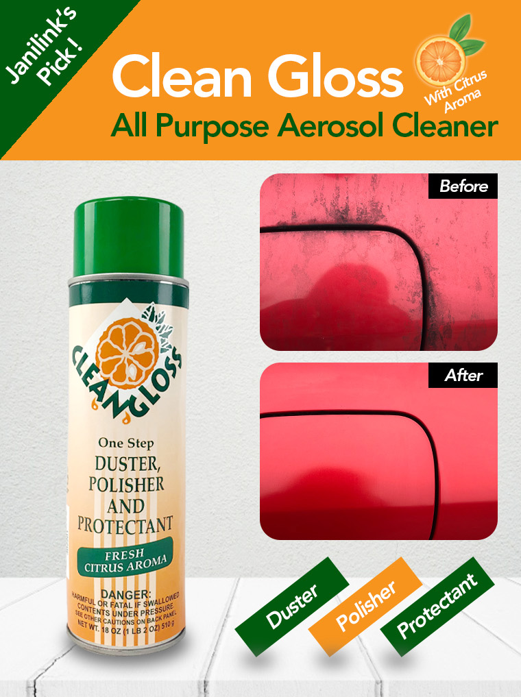 clean gloss, all purpose aerosol cleaner, before, after, duster, polisher, protectant.