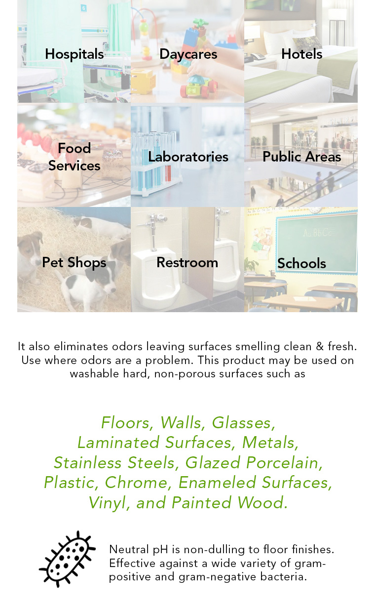 hospitals, daycares, hotel, food service, laboratory, public area, pet shop restroom, schools, floors, walls, glasses, laminated surfaces, metals, stainless steels, glazed porcelain, plastic, chrome, enameled surfaces, vinyl, painted wood, neutral ph.