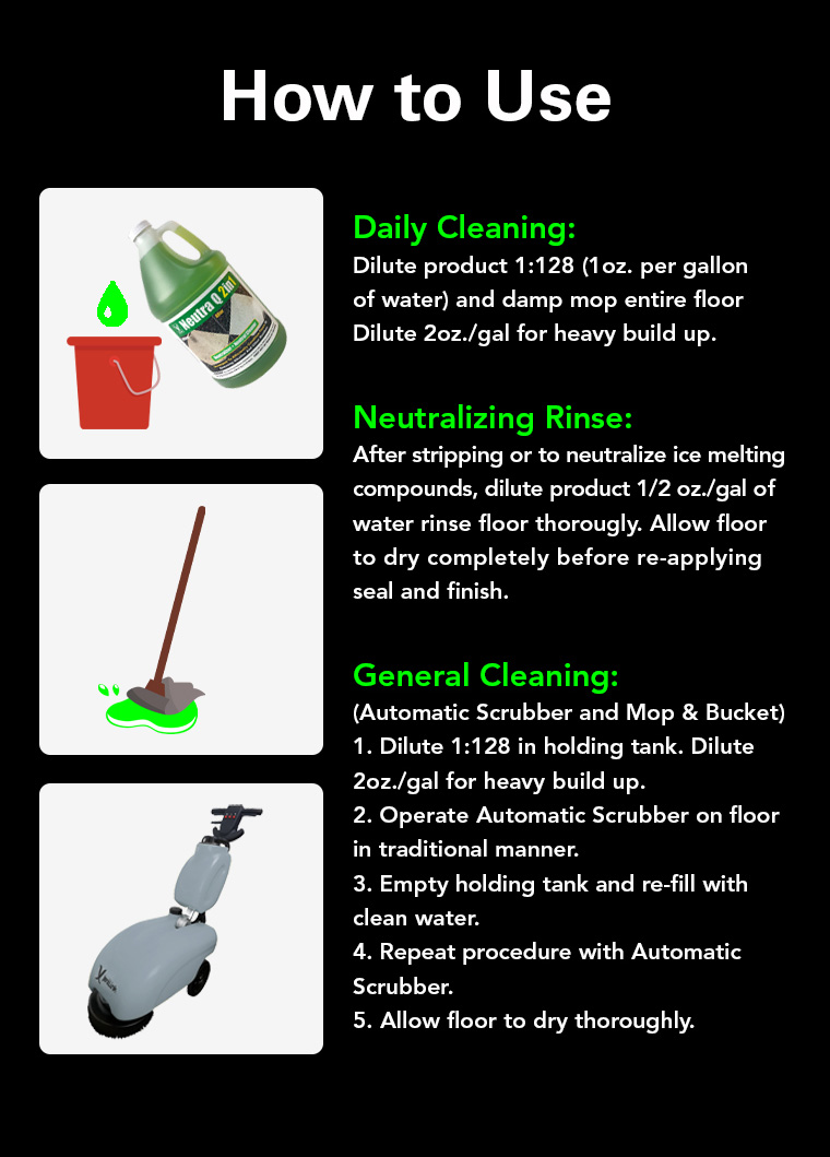 daily cleaning, neutralizing rinse, general cleaning.