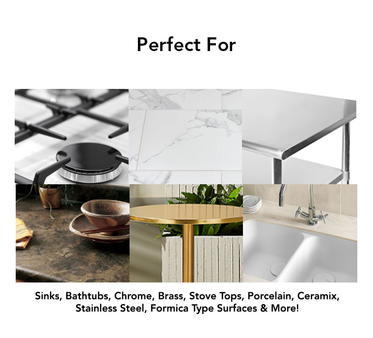 sinks, bathtubs, chrome, brass, stove tops, porcelain, ceramix, stainless steel, formica.