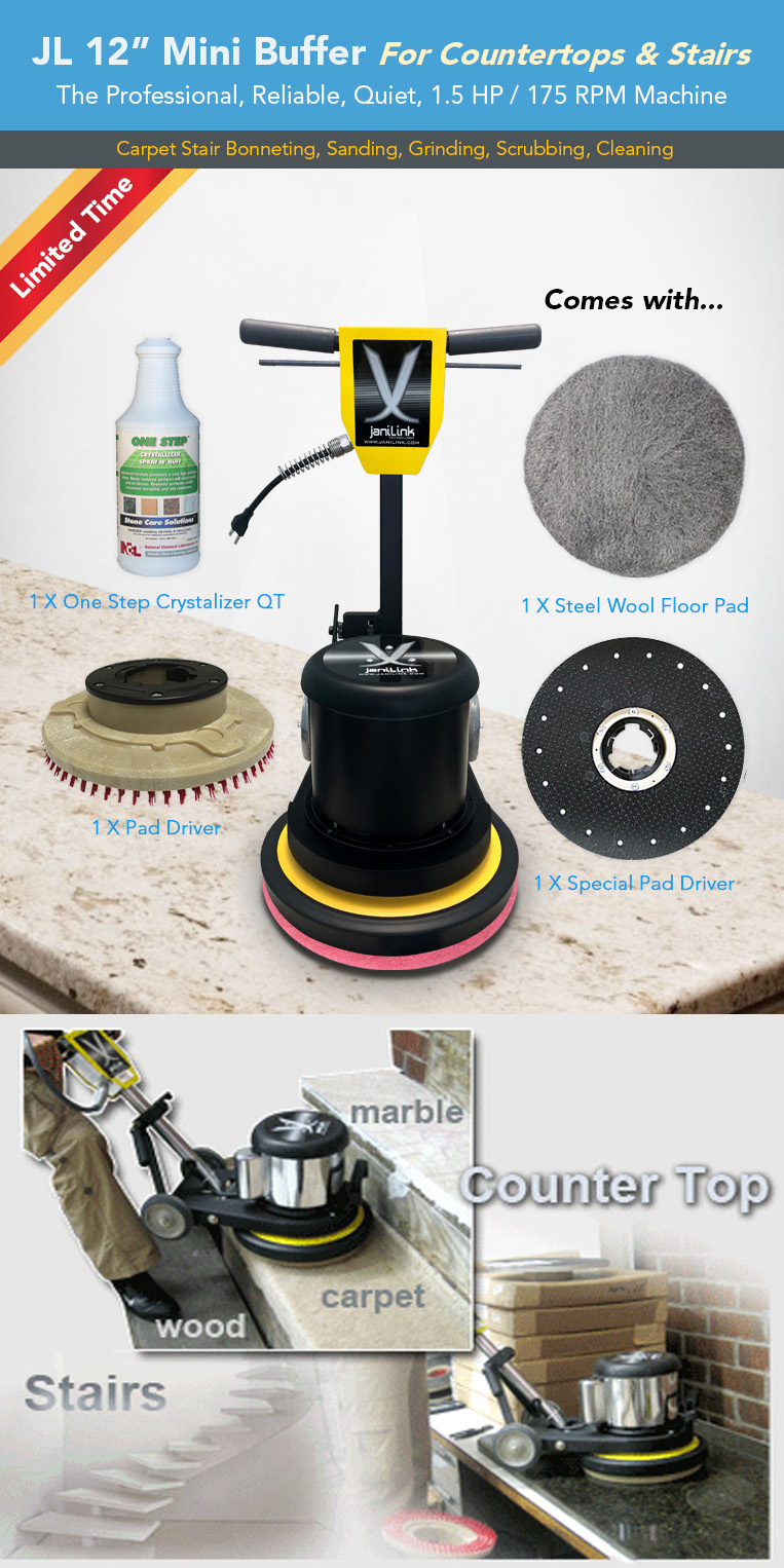 12in mini buffer for countertops and stairs, carpet stair bonneting, sanding, grinding, scrubbing, cleaning, one step crystalizer, steel wool pad, pad driver, marble, carpet, wood.