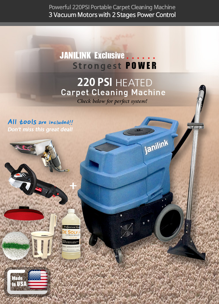 Powerful 220PSI Portable Carpet Cleaning Machine. 3 Vacuum Motors with 2 Stages Power Control. JANILINK Exclusive. Strongest POWER 220 PSI HEATED Carpet Cleaning Machine. Check below for perfect system!. All tools are included!! Don't miss this great deal!