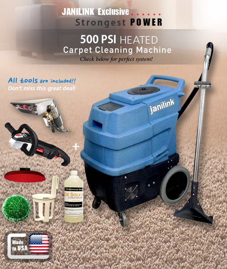 JANILINK Exclusive. Strongest POWER. 500 PSI HEATED. Carpet Cleaning Machine. Check below for perfect system! All tools are included!! Don�t miss this great deal!