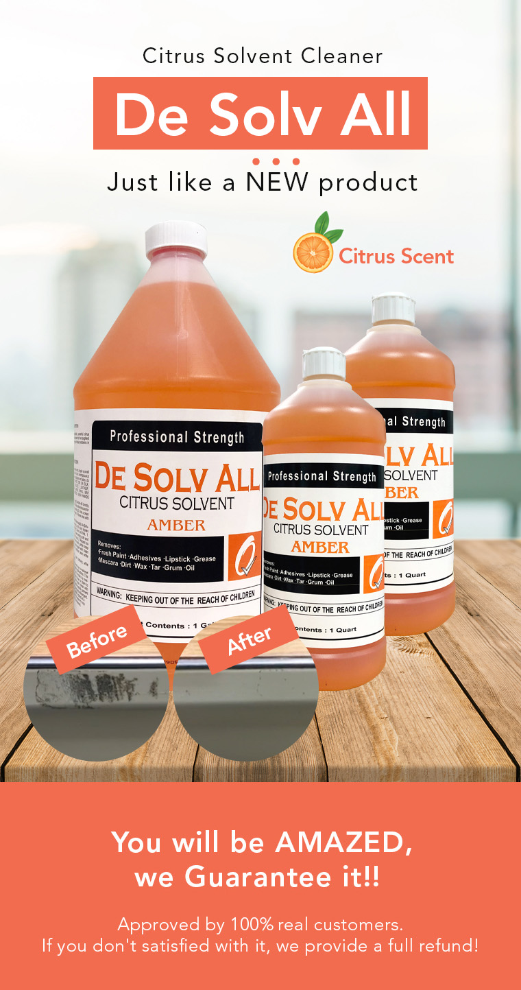citrus solvent cleaner, just like a new product, professional strength, biodegradable, citrus scent.