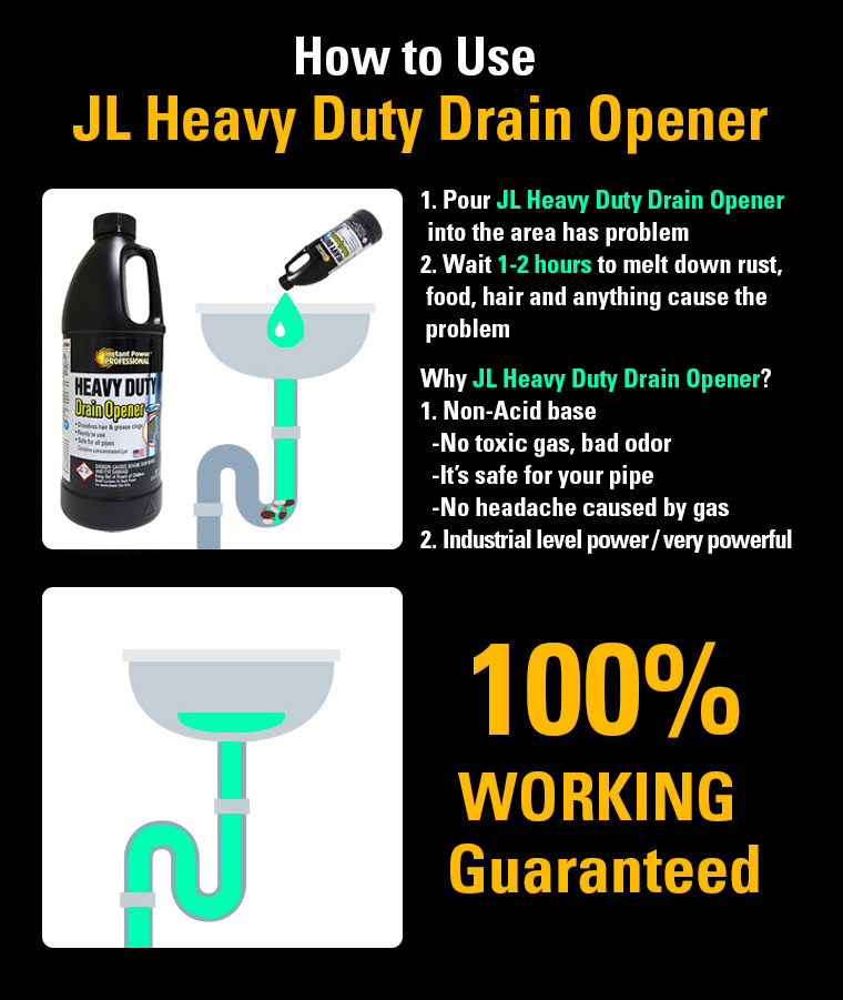 JL Heavy Duty Drain Opener, Non-Acid base / No toxic gas, bad odor / safe pipe / No headache, 100percent WORKING Guaranteed.