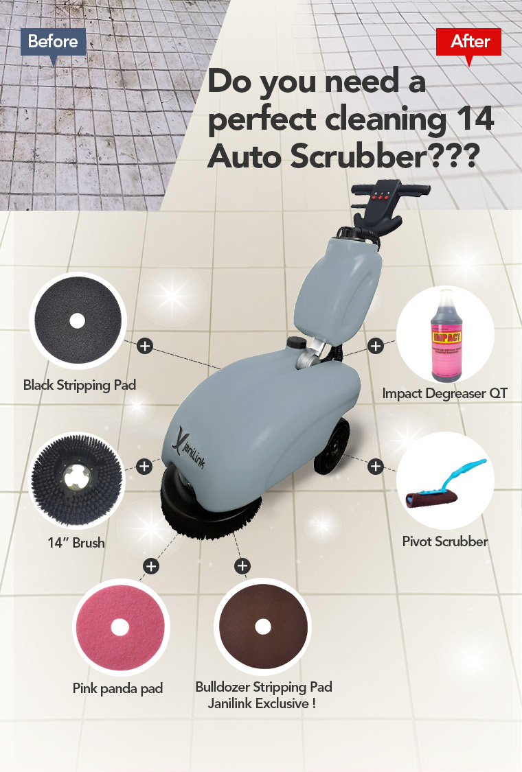14 Auto Scrubber, Black Stripping Pad, Impact Degreaser QT, Pivot Scrubber, Bulldozer Stripping Pad Janilink Exclusive, Pink panda pad.