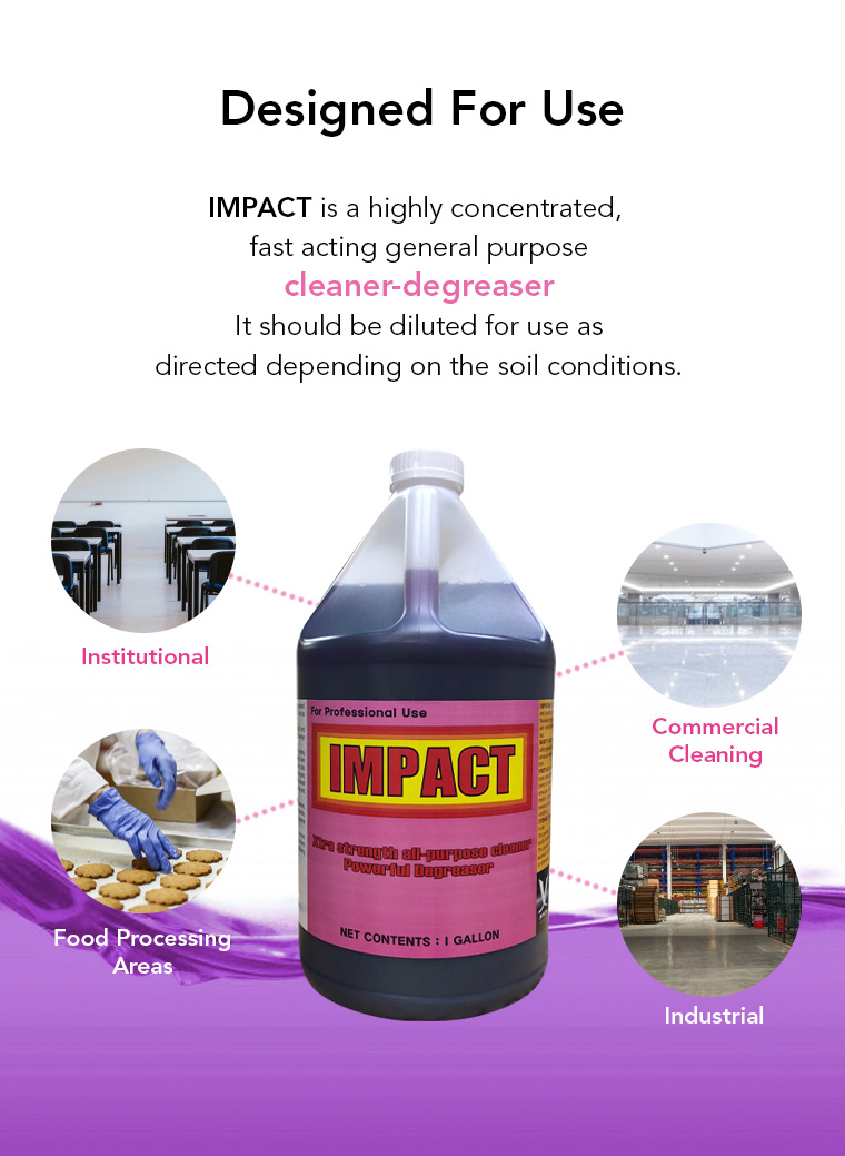 designed for use, highly concentrated, general purpose, cleaner degreaser, institutional, commercial cleaning, food processing areas, industrial.