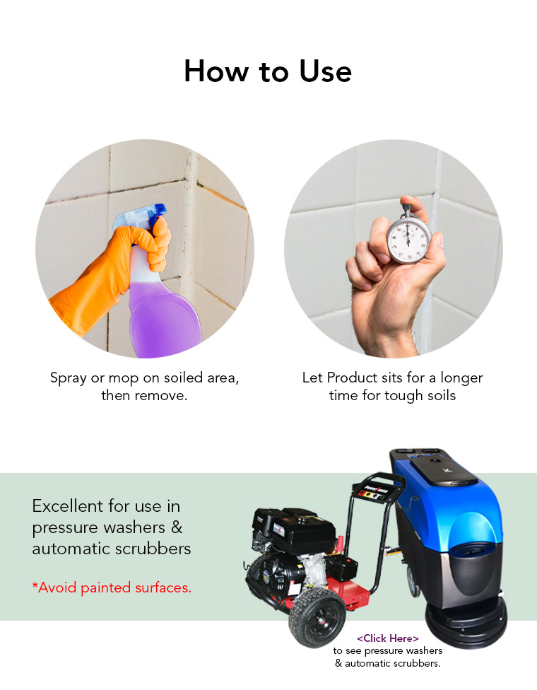 how to use, spray or mop, pressure washers, automatic scrubbers.