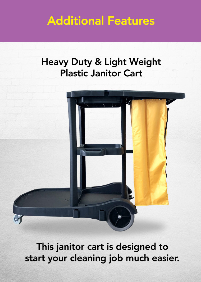 additional features, heavy duty light weight, plastic janitor cart.