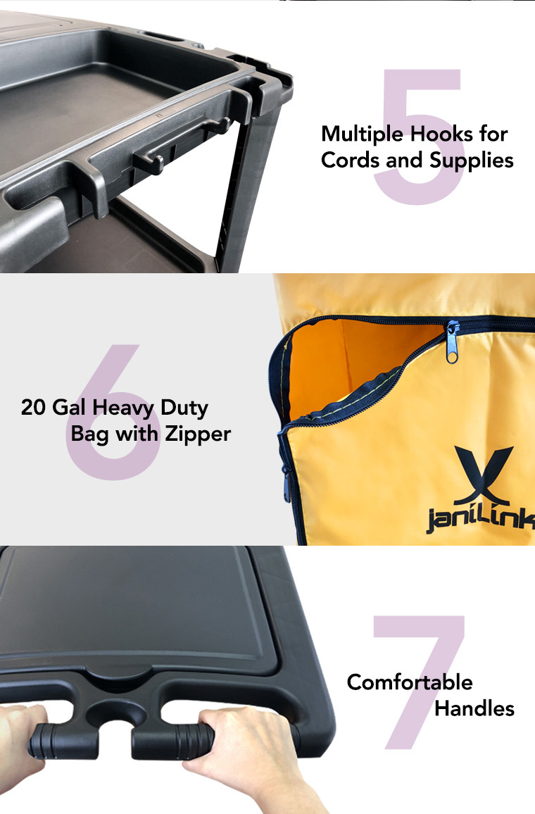 multiple hooks for cords and supplies, 20 gal heavy duty bag with zipper, comfortable handles.