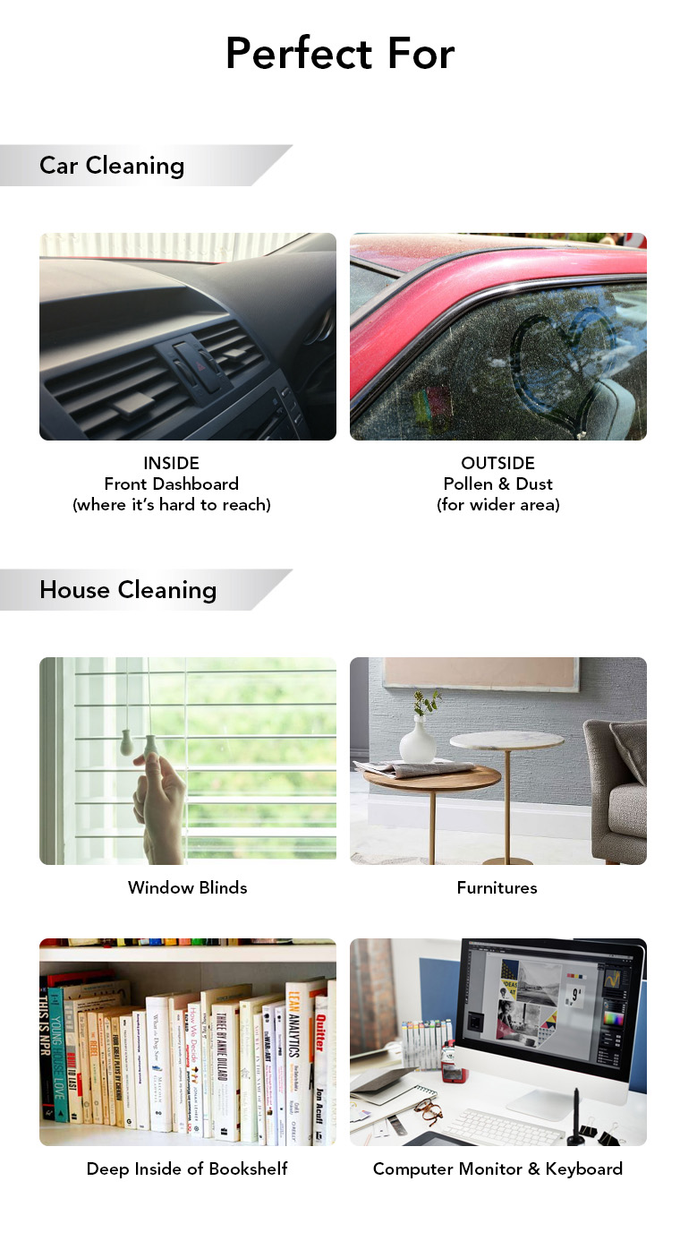 car cleaning, dashboard, pollen, dust, house cleaning, window blinds, furnitures, bookshelf, computer monitor, keyboard.