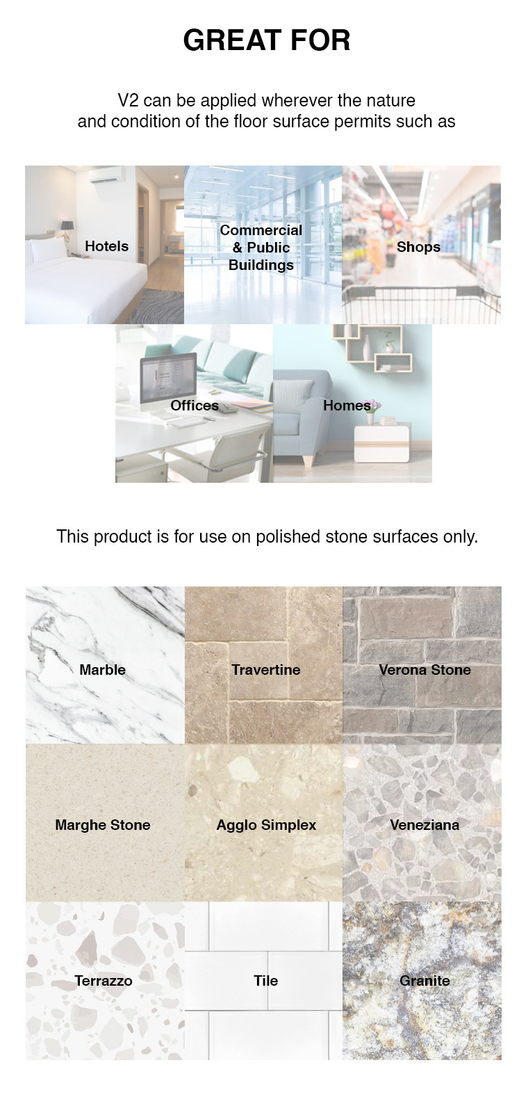 hotels, commercial public buildings, shops, offices, homes, marble, travertine, verona stone, marghe stone, agglo simplex, venezianan, terrazzo, tile, granite.
