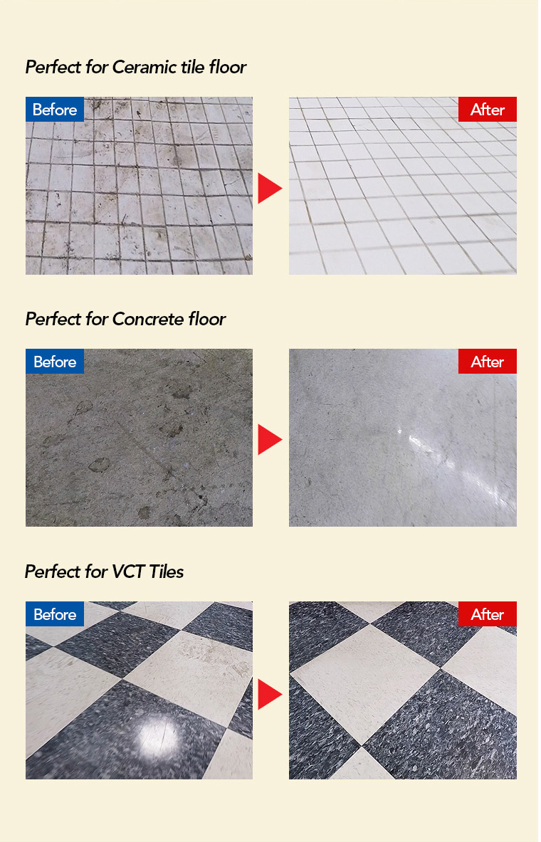 ceramic tile floor, concrete floor, vct tiles floor.