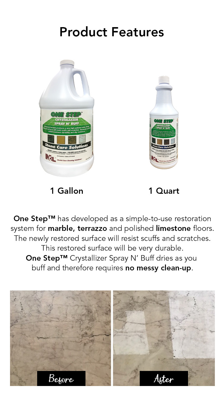 product feature, gallon, quart, marble, terrazzo, limestone, no messy clean up.