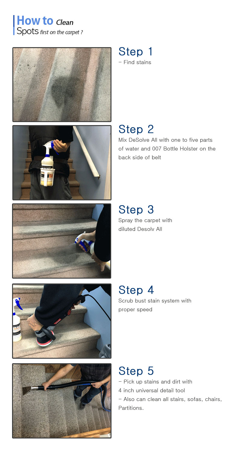 How to Clean Spots first on the carpet? Step 1, Find stains. Step 2, Mix one to five parts of water and 007 Bottle Holster on the back side of belt. Step 3, Spray the stains of carpet with mixed Desolv All. Step 4, Scrub bust stain system with proper speed. Step 5, Pick up stains and dirts with 4 inch universal detail tool. Also clean all stairs, sofas, chairs, Partitions with this.