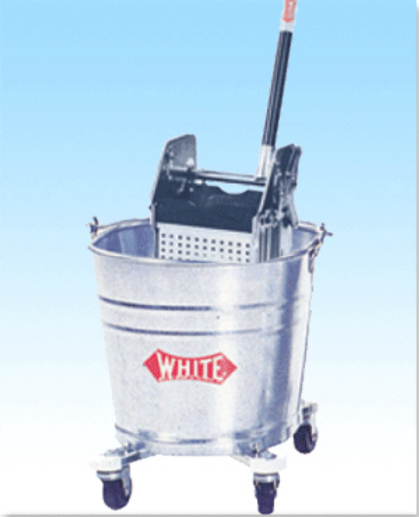 Metal Down Mop Bucket W Ringer Combo White