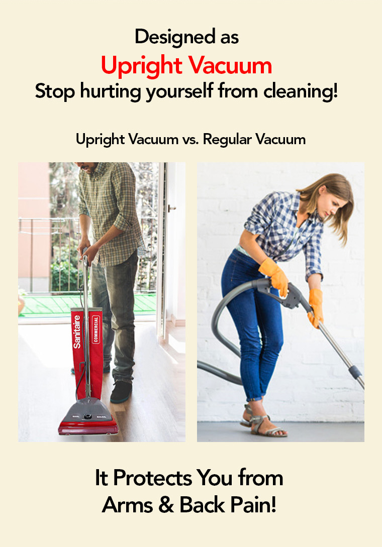 upright vacuum, protects arms and back pain.