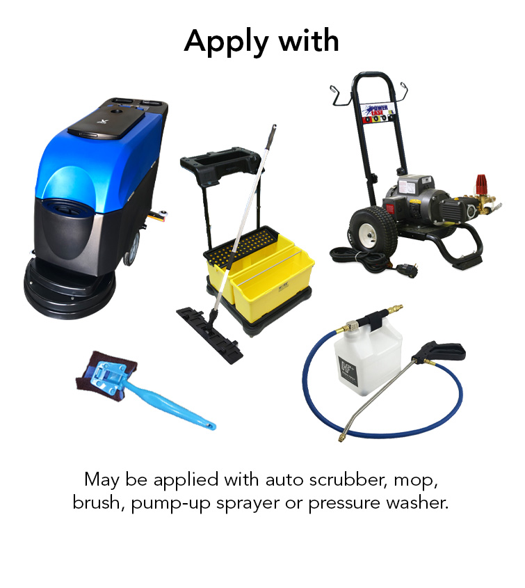 auto scrubber, mop, brush, pump up sprayer, pressure washer.