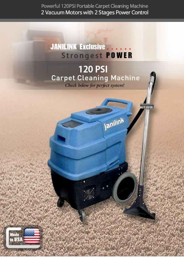 Powerful 120PSI Portable Carpet Cleaning Machine. 3 Vacuum Motors with 2 Stages Power Control. JANILINK Exclusive. Strongest POWER 220 PSI HEATED Carpet Cleaning Machine. Check below for perfect system!. All tools are included!! Don't miss this great deal!